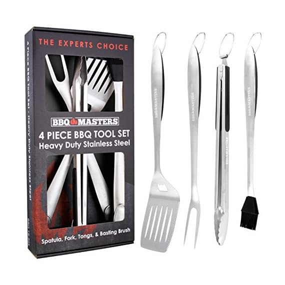 "BBQ Masters Heavy Duty 4 Piece BBQ Grilling Tools Set - Extra Thick Stainless Steel Barbecue Grill Accessories - 18"" Spatula, Tongs, Fork and Basting Brush Utensils 1 THE EXPERTS CHOICE FOR PERFECT GRILLING: A super premium set of 4 heavy duty high performance stainless steel barbecue grilling tool utensils that help you cook faster and easier, while also achieving better grilling results! Set contains 4 sturdy 18"" grilling utensils with elongated handles that keep your hands safe from the heat while grilling. Includes a chef's multi-purpose oversized spatula, a meat fork, a silicone basting brush and locking tongs. SUPERIOR QUALITY and DESIGN: Our ergonomically designed heavy duty spatula, meat fork and basting brush are each made with a single piece of extra thick solid stainless steel, so they are super sturdy, durable and rust resistant. They won't bend or break. The utensils feature thick soft touch handles that provide a comfortable and secure grip, while also keeping the handles cool when grilling. All 4 utensils have oversized hanging loops for easy storage. THE BEST TOOLS FOR EVERY TASK: Grilling should be fast, easy and enjoyable! Our spatula with built-in bottle opener will allow you to enjoy a cold beer or two while tailgating or for chillin when grillin at a backyard party. The spatula has a sharp steak knife serrated cutting edge. Add flavorings with the silicone basting brush! The scalloped head locking tongs make it safer and easier to grill, turn, flip & serve food on and off the BBQ. A meat fork with sharp long tines for skewering meats."