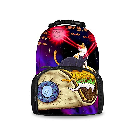 Space Taco Laser Cat Casual Fashion Backpack, Students Boys Girls Youth School Bags Bookbag, Men Business Travel Computer Bag Daypack