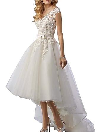 Mulanbridal Women\'s Vintage Long Hi-Lo Bridal Gowns Lace Plus Size ...