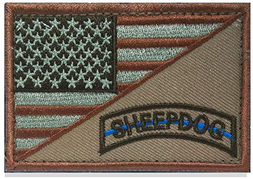SpaceAuto Decorative Sheepdog w/ USA American Flag Thin Blue Line Embroidered Military Tactical Morale Patch 3