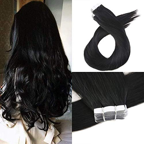(Moresoo Skin Weft Natural Hair Extensions Thick Remy Tape in Hair Extensions Human Hair Extensions 22inch #1 Jet Black PU Tape in40 Pieces 100 Grams Per Pack Full Head Set)