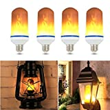 Flicker Flame Light Bulb, FVTLED 4 Pack E26/E27 Fire Light Effect Simulated Nature Corn Bulbs Decorative Lamps Bulb Lantern Atmosphere for Christmas Hotel Bars Home Decoration