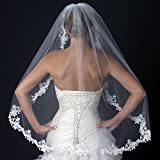 Cynthia Single Layer Floral Lace Embroidery Edge Wedding Bridal Veil - Ivory