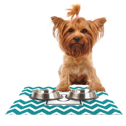 KESS InHouse Kess Original Monogram Chevron Teal Letter O  Feeding Mat for Pet Bowl, 18 by 13-Inch