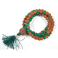 Healing Stone Necklace Rudraksha Green Jade Prayer Meditation Mala Healing Japamala 108+1