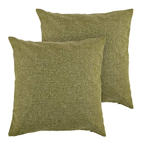 Deconovo Faux Linen Throw Pillow Cushion Covers Toss Pillow Covers Geometric Kaleidoscope Throw Cushion Cover Case Pillow Shams for Sofa 18 x 18 Inch Green Set of 2