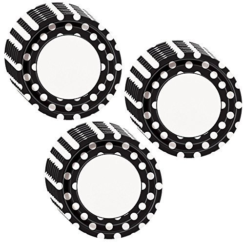 Black Polka Dot Dinner Plates - 24 Pieces