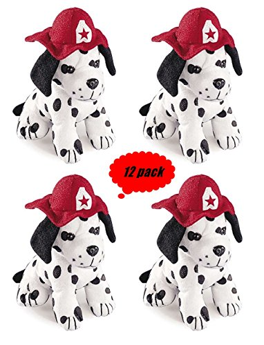 Set of 12 Plush DALMATION puppy Dogs - 7 inch size (With Dog Hat)