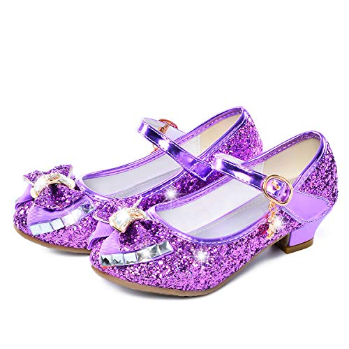 Birthday Party Little Girl's Adorable Sparkle Mary Jane Side Bow Strap Low Heels Princess Dress Shoes(Purple 10.5M Little Kid)