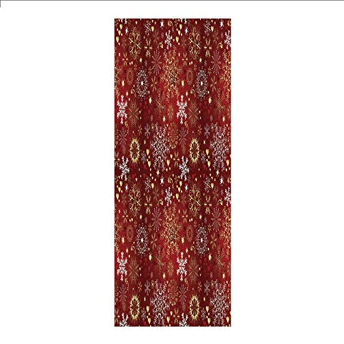 - 3D Decorative Film Privacy Window Film No Glue,Winter,Old Fashioned Christmas Mix with Hearts and Swirls Vintage Festive Composition Decorative,Ruby Gold White,for Home&Office
