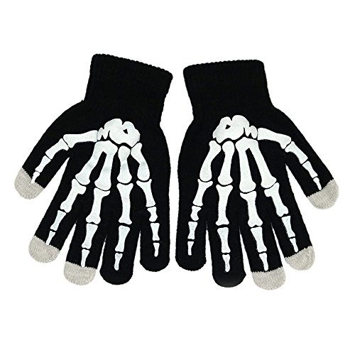 (Price/Pair) Opromo Boys Stylish Stretch Touch Screen Gloves Skeleton Winter Texting Gloves, 4 4/5