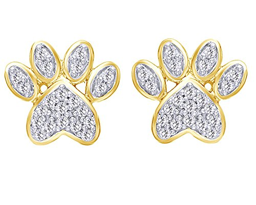 Valentines' Day Round Cut White Natural Diamond Paw Print Stud Earrings in 10K Solid Gold