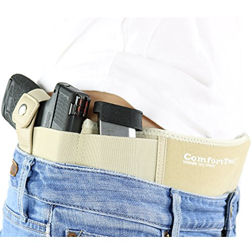 ComfortTac Ultimate Belly Band Holster 2.0 Nude | New 2017 | Fits Glock 19 43 26 Smith and Wesson MP Shield Bodyguard Ruger LC9 Sig Sauer More | Carry IWB OWB Appendix (XL (Belly Up to 53