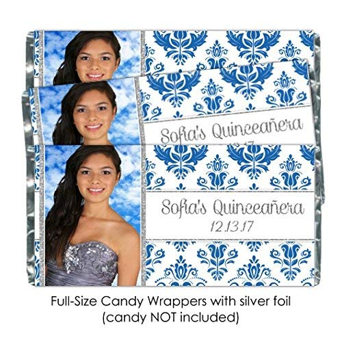 50 Custom Candy Wrappers, Quinceanera Wrappers, Blue Damask with Silver, Photo Candy Wrappers, Sweet 16 Chocolate Bar Wrappers