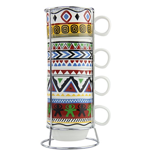Pretty Housekeeper Stacking Porcelain Coffee Mugs Set with Stand,5 Oz Cups (Colorful Geometry) ()