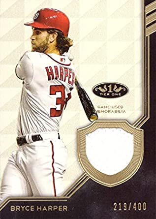 83fd60b13 2018 Topps Tier One Relics  T1R-BH Bryce Harper Game Worn Nationals Jersey  Baseball