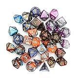 QOJA 35 pcs polyhedral dices set d20 d12 d10 d8 d6 d4 dices gadget