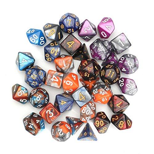 QOJA 35 pcs polyhedral dices set d20 d12 d10 d8 d6 d4 dices gadget by QOJA