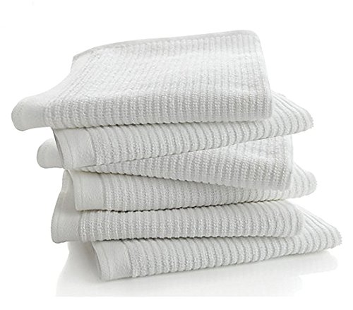 "Bar Mop Kitchen Bathroom Cleaning Towels, Set of 6, Size 16"" x 19"", First Quality, 100% Cotton, Brilliant White Color, Machine (White Bar Mop)"