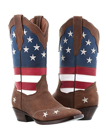 Texas Legacy - Women's Brown USA Flag Leather Cowgirl Boots Square Toe 7.5 BM - Ladies American Flag Cowboy Boots