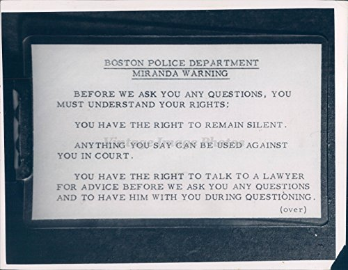 1967 Photo Boston Police Department Miranda Warning Officers Show Sign Court