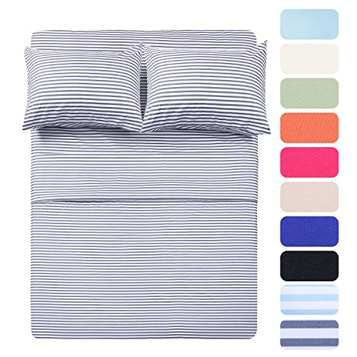 HIGHEST QUALITY 4 Piece Bed Sheet Set with 2 Pillow Cases, Navy Pinstripe/Classic Pattern Sheets - Twin ,Deep Pocket,Great Value, Ultra Soft & Breathable,Wrinkle Free Hypoallergenic Bedding