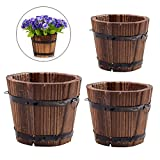 Vtete 3 Pcs Rustic Succulent Planter Box Wood Barrels Flower Pot Plant Container Box for 3 Different Sizes