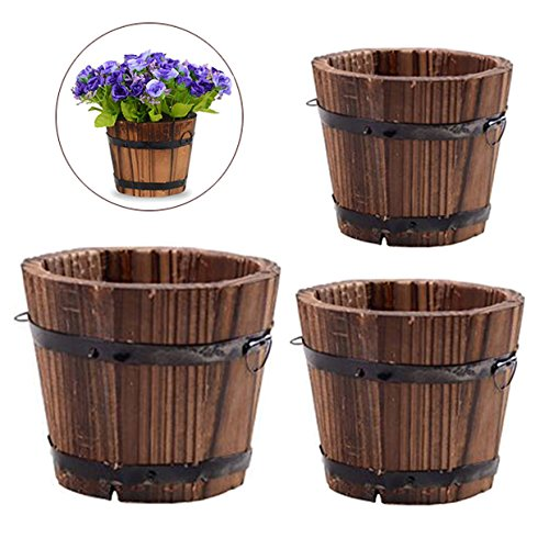 Vtete 3 Pcs Rustic Succulent Planter Box Wood Barrels Flower Pot Plant Container Box for 3 Different Sizes - Wood Pot