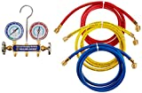 Yellow Jacket 41319 Series 41 Manifolds with 2-1/2'' Gauges, 72'', psi, R-134A/404A/507, Red/Yellow/Blue