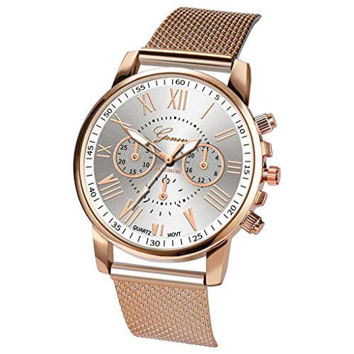 Winsopee Women's Watch Deluxe Quartz Sport Military Stainless Steel Dial Leather Watch(White)