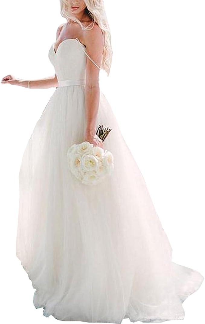 Wedding Gown Beach Wedding Dresses 2020 Spaghetti Straps Bridal Dresses Tulle Wedding Party Dress At Amazon Women S Clothing Store