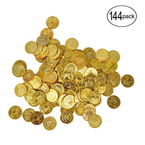 BUYDEAL Pirate Coins Pirate Party Favor Plastic Gold Coins, 144 -