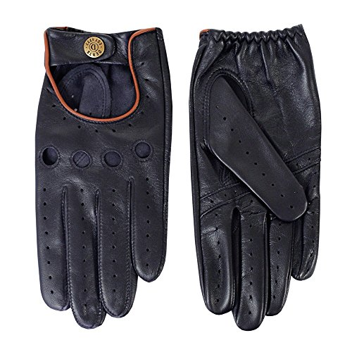Dents Delta Leather Driving Gloves Large Navy Tan