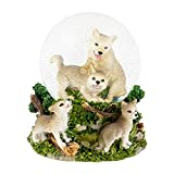 Playful Baby Wolves 100mm Resin Water Globe Plays Tune Who's Afraid of the Big Bad Wolf