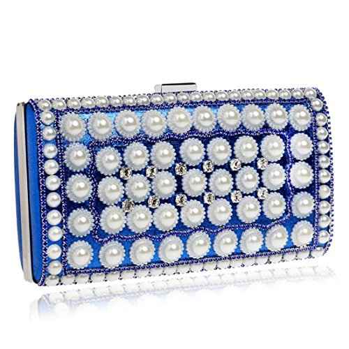 evening Clutch Dinner Blue Dress Blue And Women's European Color Banquet Fly American Bag bag Evening Pearl xqPIvC