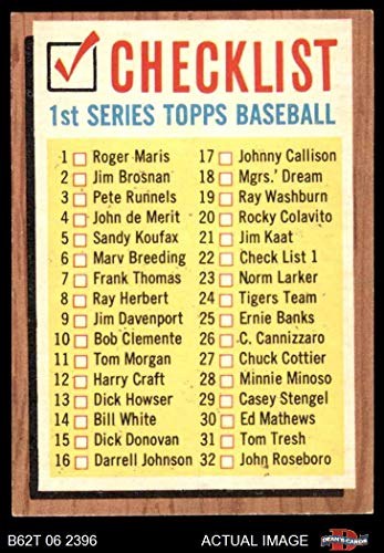 1962 Topps # 22 COR Checklist 1 (Baseball Card) (Lists Cards 33 to 88 on the Back) Dean's Cards 4 - VG/EX