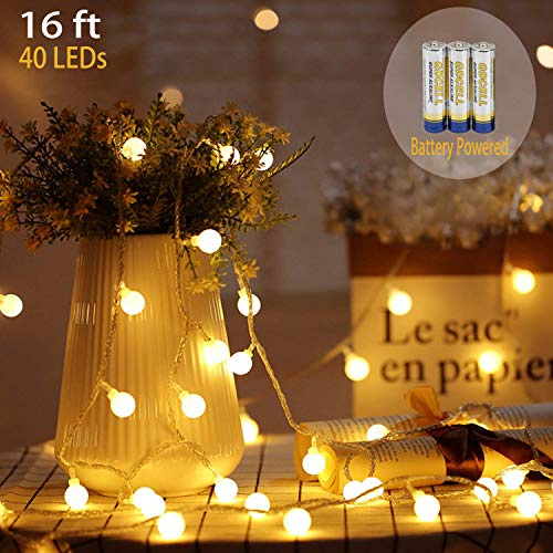 LED String Lights, Battery Powered String Lights, 16Ft 40 LED Warm White Globe Decor Lights, for Home, Party, Christmas, Wedding, Garden Decoration from SupMLC