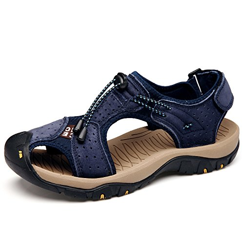 Hombres Verano De Senderismo Al Zapatos Libre Aire De Playa Punta De Deportes Blue Cómodo De Zapatos para para Cuero Calzado De Sandalias Cerrada Caminar R0XqER