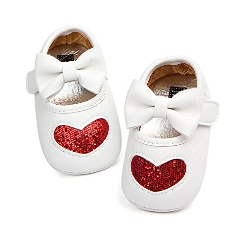 Antheron Baby Girl Moccasins - Infant Princess Sparkly Premium Lightweight Soft Sole Toddler First Walker Newborn Crib Shoes(Red Heart,0-6Month)