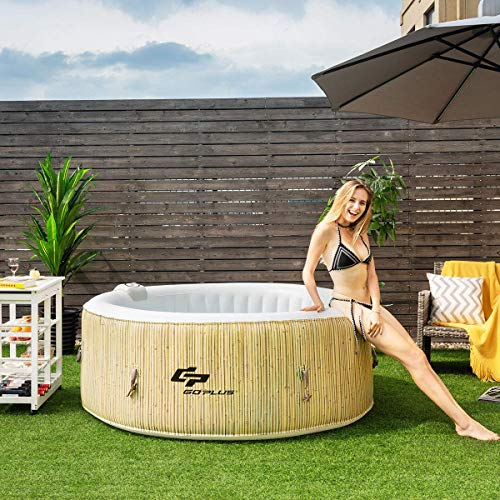 Goplus 4-6 Person Outdoor Spa Inflatable Hot Tub for Portable Jets Bubble Massage Relaxing with Accessories Set (4-Person, Beige)