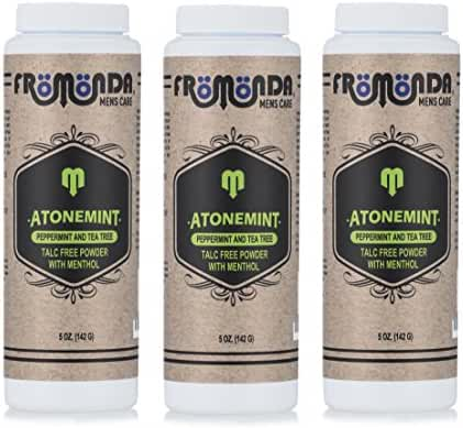 Fromonda AtoneMint Talc-Free Body Powder with Menthol, 100% Natural (Pack of 3), 5 oz each