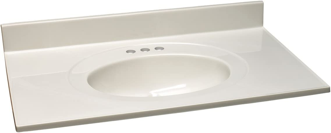 Design House 552794 25×19 Cultured Marble Single Bowl Vanity Top with Integrated Backsplash 4-in Centerset, Standard Packaging, White on White