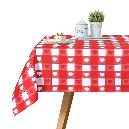 Ice jazz Valentine's DayTablecloth Red and White Buffalo Check Plaids Red Heart Tablecloth Durable Waterproof Table Cover for Home Decor Picnic Parties Holiday Dinner -