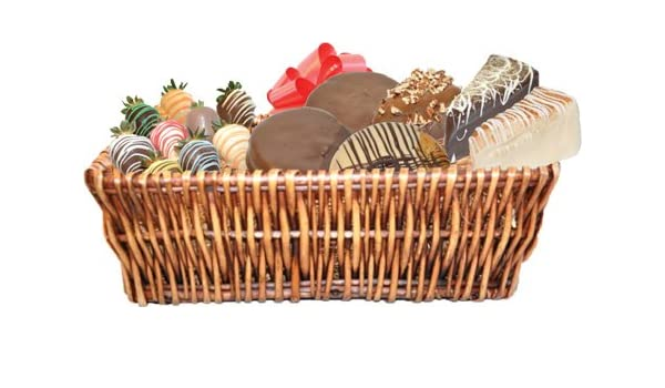 Amazon.com : Large gift basket with 3 slices of Cheescake Factory cheesecake, 3 Mrs. Fields Cookies, and 9 chocolate covered strawberries : Grocery ...