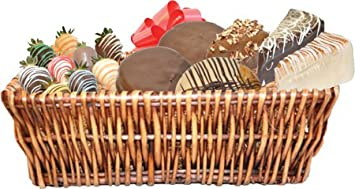 Large gift basket with 3 slices of Cheescake Factory cheesecake, 3 Mrs. Fields Cookies