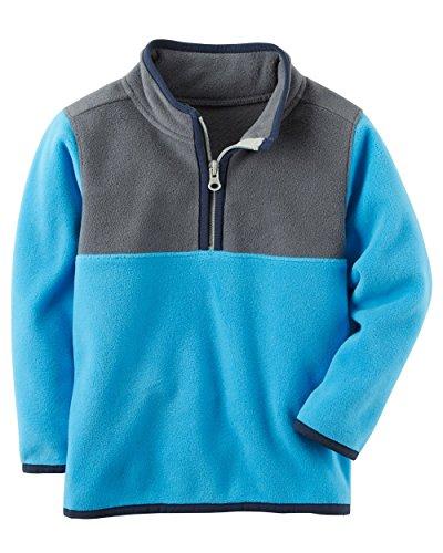 Carter's Boys Quarter Zip Colorblock Fleece Pullover; Blue/Grey/Navy - Jacket Quarter Zip Colorblock