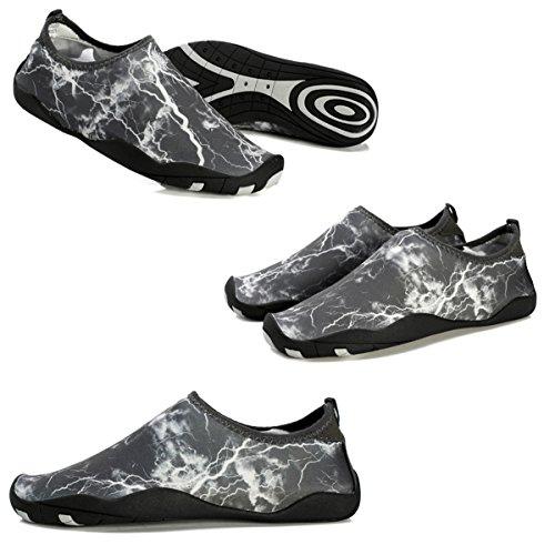 Demetry Unisex Quick-Dry Wasserschuhe Leichte Aqua Socken zum Schwimmen, Wandern, Yoga, Strand, Wasserpark 2-dunkelgrau