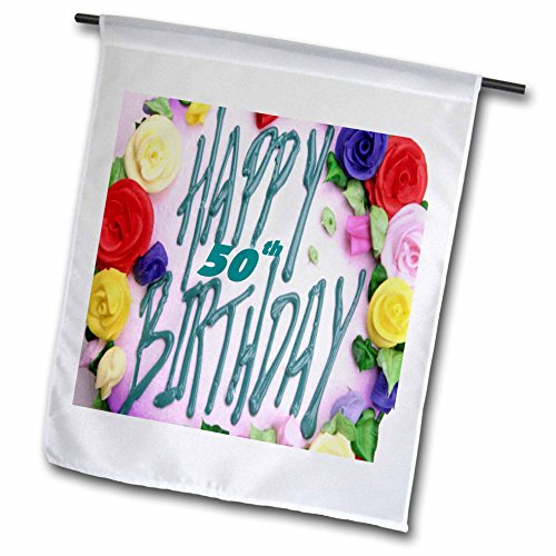3dRose Florene Special Events - Happy 50th Birthday.png - 12 x 18 inch Garden Flag (fl_52359_1)