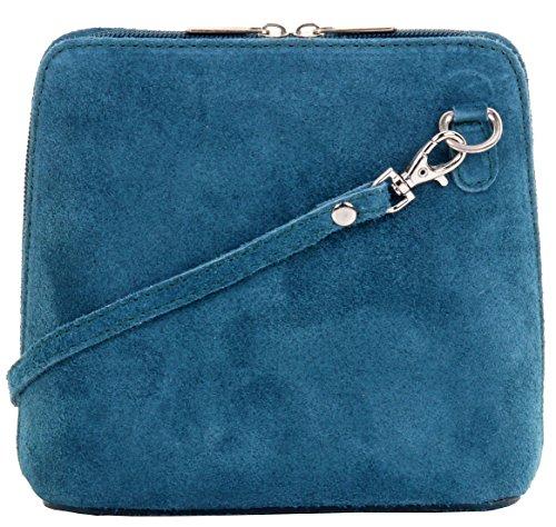 Primo Sacchi cuir Suede italien petit/micro sac de carrosserie ou sac à bandoulière sacs à main. Comprend un sac de rangement de marque Teal