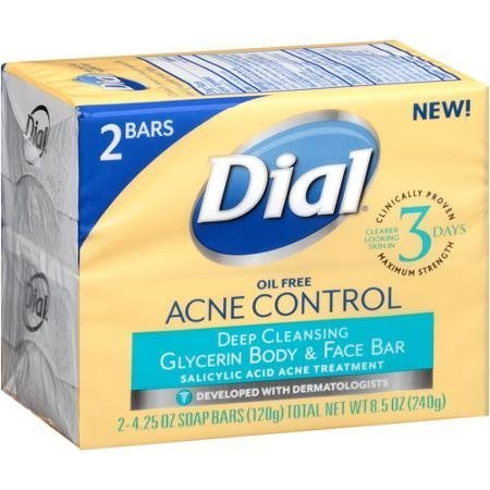 Dial Acne Control Deep Cleansing Glycerin Body Face Bar 4.25 oz 2 Bars Packaging May Vary